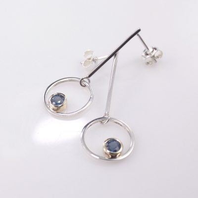 Sterling Silver and 9ct Yellow Gold drop-stud Earrings featuring Round Cut Blue Sapphires.