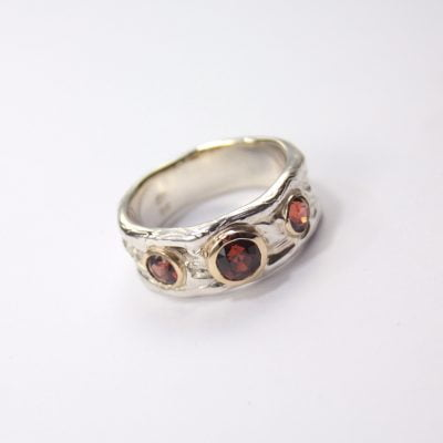 9ct Yellow Gold and Silver Palladium Ring, featuring 3x Round Cut Red Spinels. Reference Code: LJ-R229-B