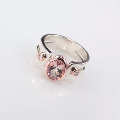 9ct Rose Gold and Sterling Silver Ring featuring a 2.00ct Oval Cut Morganite, plus 2x 1.80mm Round Brilliant Cut G/SI Diamonds.